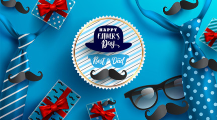 Flat lay style of Happy Father's Day inscription with necktie,glasses and gift box for dad on blue background.Greetings and presents for Father's Day.Vector illustration EPS10