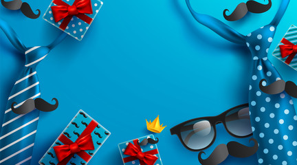 Background for Happy Father's Day with necktie,glasses and gift box for dad.Greetings and presents.Vector illustration EPS10