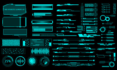 Fototapeta HUD Virtual Futuristic Elements Set Vector. Green Object Abstract Graphic For User Interface Control Panel Game Apps Illustration. obraz