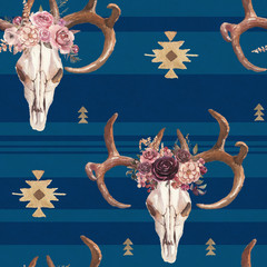 Watercolor boho seamless pattern of deer skull with antlers & floral arrangement on stripe blue background. Native american decor, print element, tribal bohemian navajo, Indian, Peru, Aztec wrapping