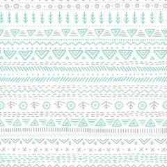 Vector seamless pattern with ethnic tribal hand-drawn trendy ornaments