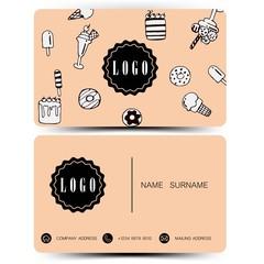 Business card design. Use for bakery shop .Vintage color EPS10.
