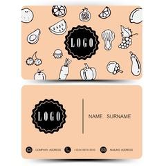 Vintage color. business card design doodle concept. Vegetables and fruits.