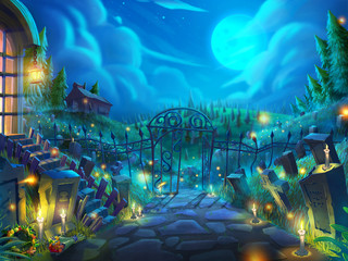 Halloween Dead Garden, Zombie Cemetery in the Night with Fantastic, Realistic and Futuristic Style. Video Game's Digital CG Artwork, Concept Illustration, Realistic Cartoon Style Scene Design