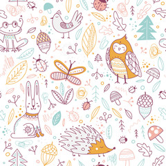 Cute forest animals and elements vector seamless pattern.