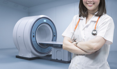 doctor with mri scan machine