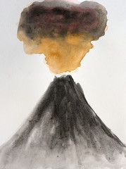 Black volcano eruption