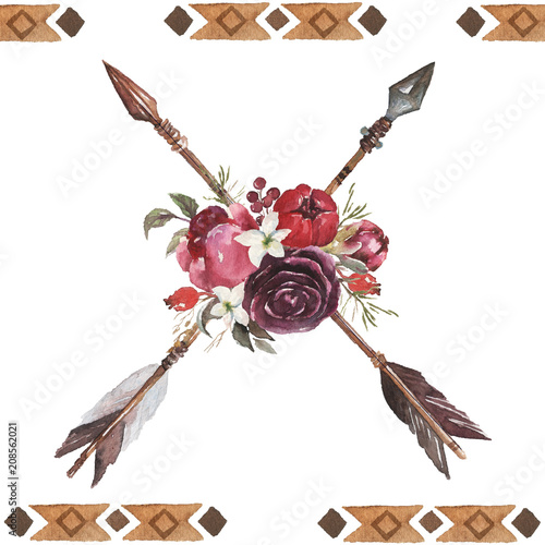 Watercolor ethnic boho arrangement bouquet of arrows and flowers, native american tribe decoration print element, tribal navajo isolated illustration ...