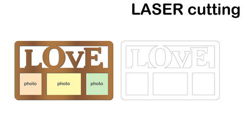 Frame for photos with inscription 'Love' for laser cutting. Collage of photo frames. Template laser cutting machine for wood and metal.