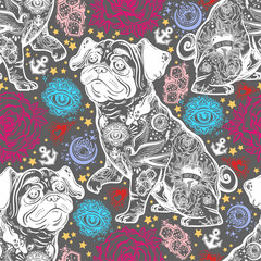 Vintage style traditional tattoo flash bulldog or pug dog seamless doodle pattern.