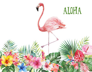 Watercolor tropical floral illustration border - green leaves, flowers and pink flamingo for wedding stationary, greetings, wallpapers, fashion, backgrounds, textures, DIY, wrappers, postcards, logo