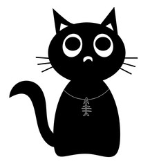 black cat cute cartoon character with fishbone pendant, isolated on white background, flat design style EPS 10 vector illustration.