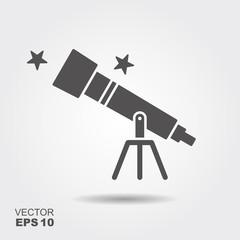 Telescope flat icon,