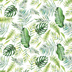 Green palm leaves on the white background. Watercolor hand painted seamless pattern. Tropical illustration. Jungle foliage.