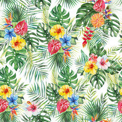 Green palm leaves, colorful flowers on the white background. Watercolor hand painted seamless pattern. Tropical illustration. Jungle foliage.