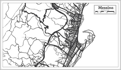 Messina Italy City Map in Retro Style. Outline Map.