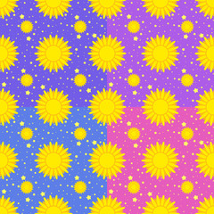 Set of seamless patterns of yellow suns on a background of stars and sky of different colors