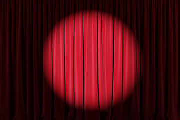 Background image of red velvet stage curtain with spotlight