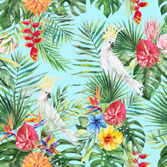 Green palm leaves, white cockatoo bird, colorful flowers on the blue background. Watercolor hand painted seamless pattern. Tropical illustration. Jungle foliage.