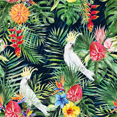 Green palm leaves, white cockatoo bird, colorful flowers on the black background. Watercolor hand painted seamless pattern. Tropical illustration. Jungle foliage.