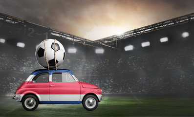 Costa Rica flag on car delivering soccer or football ball at stadium