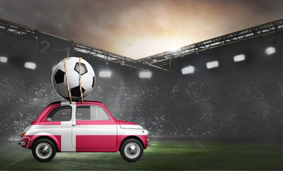 Denmark flag on car delivering soccer or football ball at stadium