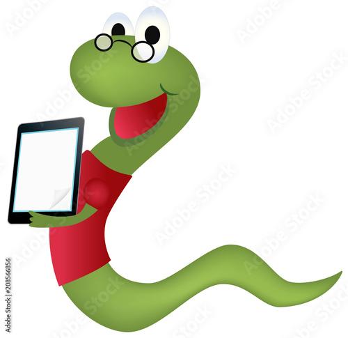Bookworm with ebook vector