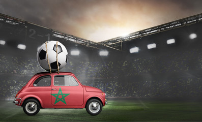 Morocco flag on car delivering soccer or football ball at stadium
