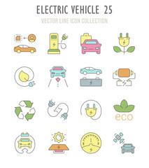 Set of Retro Icons of Electric Vehicle.