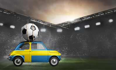 Sweden flag on car delivering soccer or football ball at stadium