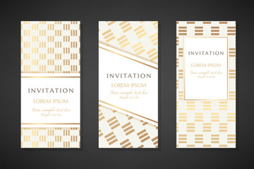 Gold colored illustration with stripped square texture. Invitation templates. Cover design with ornaments.