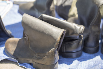 old army boots at the flea market