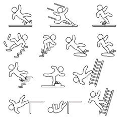 People falling or slipping thin line icon set. Vector.