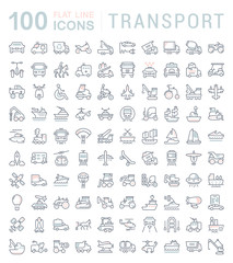 Set Vector Line Icons of Transport.