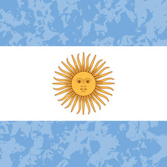 Argentina Independence Day. 9 July, Flag of Argentina. Grunge background. Sun of May