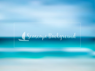 Blurred seascape background in blue shades