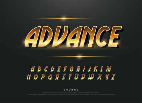 Alphabet gold metallic and effect designs. Exclusive golden letters typography italic font. technology and sport concept. vector illustrator