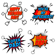 Set of comic style phrases for Dad Day. Cartoon style text.