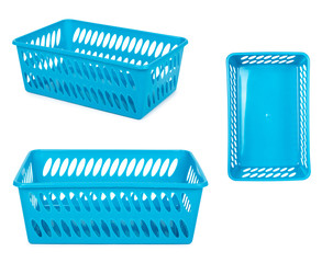 set of different Blue laundry basket, grocery container isolated on white background