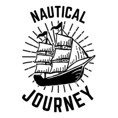 Nautical. Hand drawn emblem with ship. For poster, card, print.
