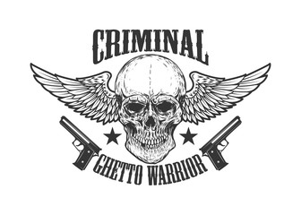 Criminal. Winged skull with handguns. Design element for poster, emblem, print, label.