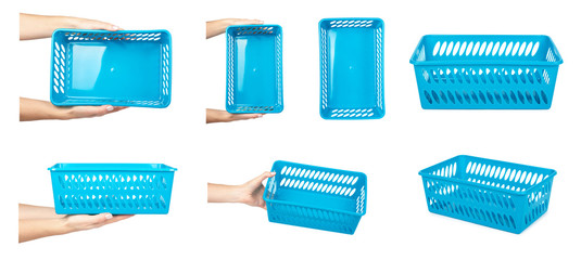set of different Blue laundry basket with hand, grocery container isolated on white background