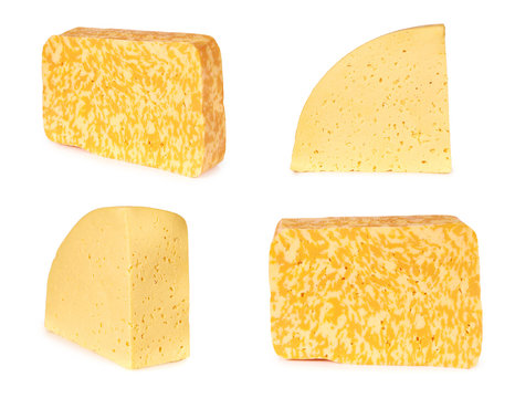 set of different piece of cheese isolated on a white background
