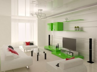 Large bright living room with modern comfortable furniture and stylish light background.