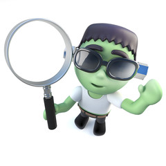 3d Funny cartoon frankenstein monster holding a magnifying glass