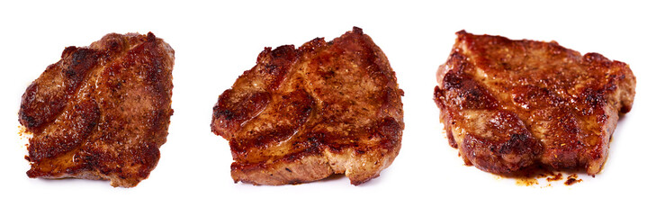 set of different grilled meat steak with spices. Isolated on white background