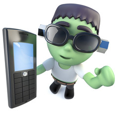 3d Funny cartoon frankenstein monster holding a cellphone
