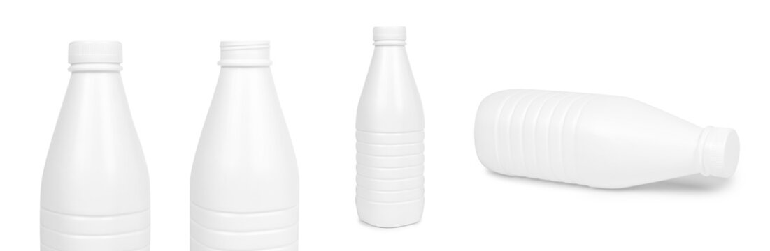 set of different White plastic milk bottle isolated on white background