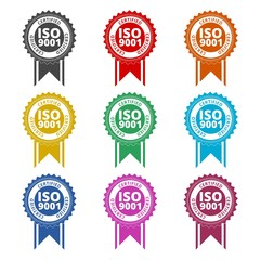 ISO 9001 certified sign icon, color icons set