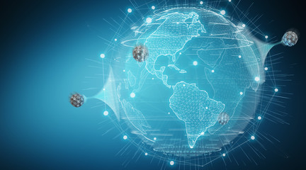Globe network hologram with digital connection 3D rendering